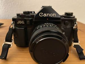 Canon A-1 35mm film camera with 24mm prime lens for Sale in Kennedale, TX