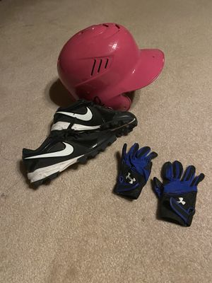 Youth baseball cleats, batting gloves and helmet like new for Sale in Turlock, CA