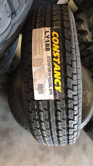 14 SENDEL T09 5-LUG BOAT CAMPER RV TRAILER WHEEL RIM SILVER MACHINED with ST 215-75-14 trailer tire $620 cash no bargain price firm for Sale in San Bernardino, CA