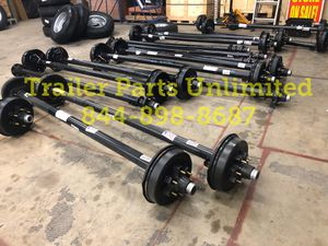 "5200 lbs trailer axle - 5.2k electric brake trailer axle 6 lug 5.5"" bolt pattern fully assembled NEW for Sale in Huntsville, TX"