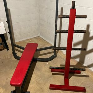 Heavy duty olympic bench press and plate holder for Sale in Millstone, NJ