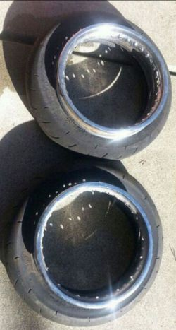 """12"""" supermoto street tires, klx110 hoops for Sale in Concord, CA"""