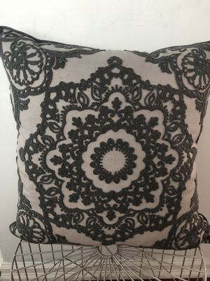 Brand new decorative dark gray embroidered pillow for Sale in San Francisco, CA