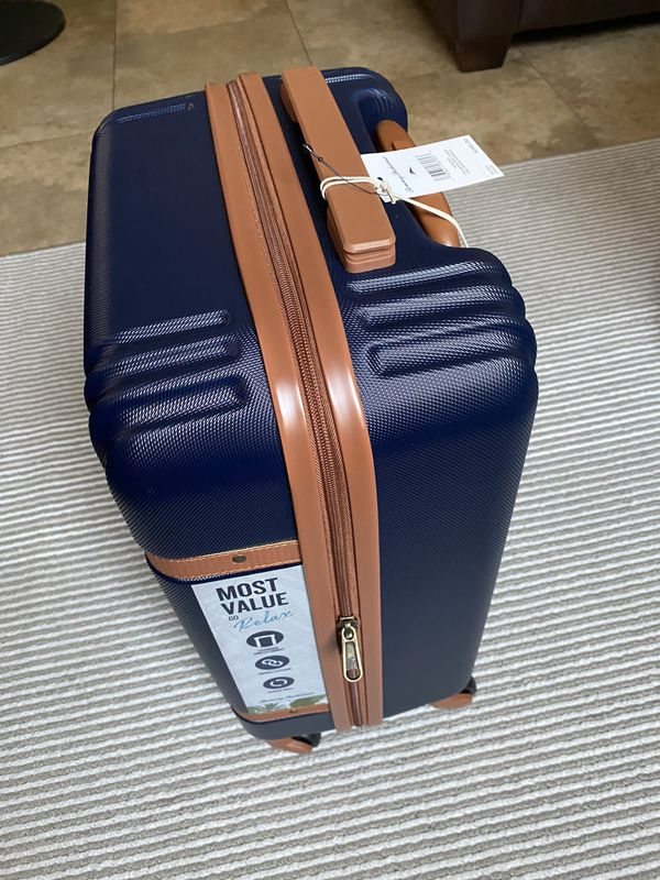 Tommy Bahama Carry On Luggage - 20 Inch Lightweight Rolling Spinner Luggage with Wheels Travel Suitcase, Navycognac