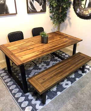 Live edge teak dining table set with bench & 2 leather chairs for Sale in San Diego, CA