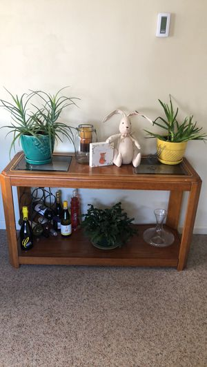 Antique wooden w/ glass top table for Sale in Boston, MA