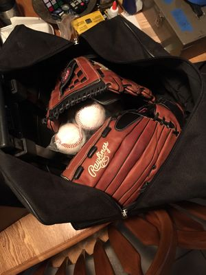 Baseball soft ball gloves with baseballs for Sale in Houston, TX