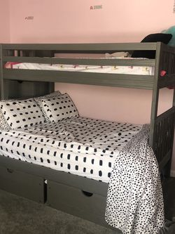 Beautiful Gray Twin & Full Bunk Bed for Sale in Peabody, MA