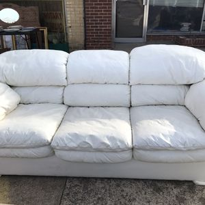 White Faux Leather Couch & Loveseat for Sale in Dallas, TX