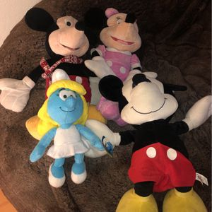 Stuffed Disney And Smurfs Plush Mickey / Minnie Mouse for Sale in Newhall, CA