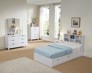 Twin Size 3-Drawer Storage Bed Frame with Bookcase Headboard, White for Sale in Santa Ana, CA