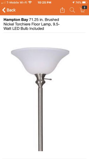Hampton Bay 71.25 in. Brushed Nickel Torchiere Floor Lamp, 9.5-Watt LED Bulb Included brand new in box reg. $34.97 plus tax total you in the store $3 for Sale in Hesperia, CA