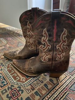 Ariat Womens Cowboy Boots Leather Brown Red Pointed Toe Size 7 for Sale in Paradise,  NV