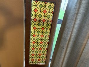 12x1 1/2x31 stained glass style antique vintage TRANSOM WINDOW. 99.00 😀Johanna. Furniture, collectibles, sterling silver jewelry man cave items, vin for Sale in Buda, TX