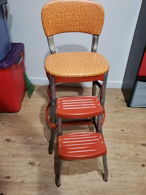 ALL OFFERS CONSIDERED Retro Kitchen Step Stool Chair Reupholstered Orange for Sale in Vancouver, WA