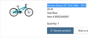 "REI-Novara Danza 20"" Girls' Bike - 2016 for Sale in Westborough, MA"