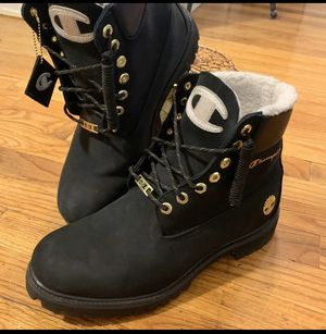Champion x Timberland black boots for Sale in Mineola, NY