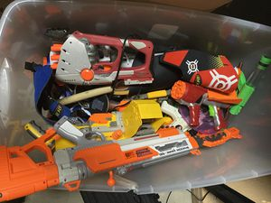 Bucket of nerf guns and other blasters for Sale in West Linn, OR
