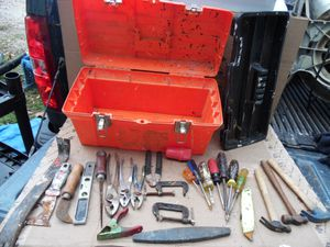 "Homer 19"" Plastic Tool Box With 26 Hand Tools Hammer Pliers Screwdriver Chisel for Sale in Clifton Heights, PA"