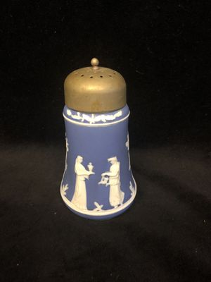 Jasperware blue glass sugar shaker with silver-plated top for Sale for sale  San Clemente, CA