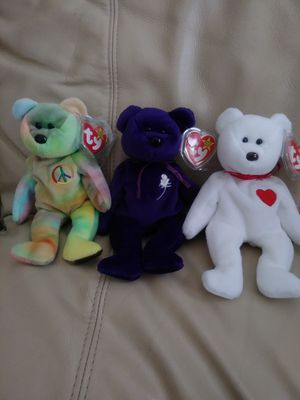 Beanie Babies TY Originals PEACE 1996. Princess Di 1997 Valentino 1993 ALL Rare Retired for Sale in Coronado, CA