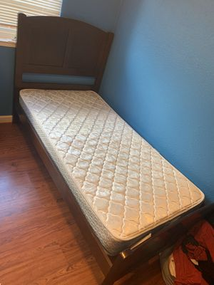 Twin wood bed frame and mattress for Sale in Manteca, CA