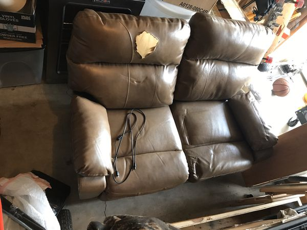 FREE*** Brown leather love seat electric recliner ***FREE