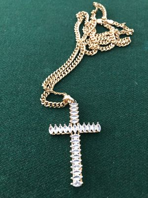 "18kmgl (gold-filled not plated or stainless ) tennis Cz cross pendant with 5mm 28"" cuban link chain , includes warranty for Sale in Tampa, FL"