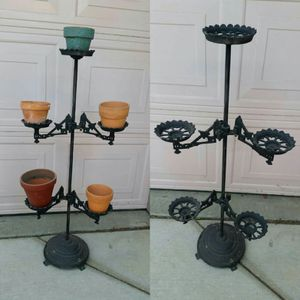 Cast Iron/Wrought Iron Plant Stand/Yard Art With Terracotta Pots for Sale in Modesto, CA