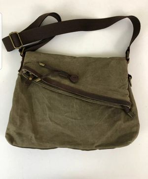 Vtg Army Green Waxed Canvas With Brown Leather Trim Messenger Crossbody Bag. for Sale in Lake Oswego, OR