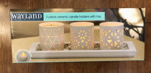 Wayland 3 Piece Ceramic Candle Holders with Tray Includes 3 Tealight Candles Brand New(pick up only) for Sale in Springfield, VA