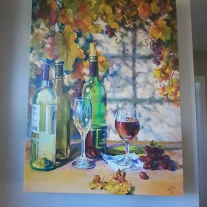 White Wine Theme Canvas Painting for Sale in Everett, MA