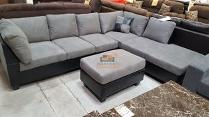 Brand New Grey Microfiber Sectional Sofa Couch + Ottoman for Sale in Beltsville, MD