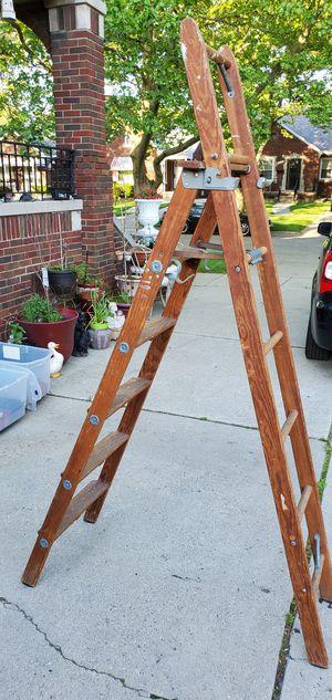 Vintage 6.5' Solid Wood Ladder for Sale in Detroit, MI