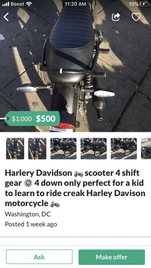 Harley Davidson 4 stroke gear motorcycle for sale now! Ride off now bike works perfectly fast too!! for Sale in Washington, DC