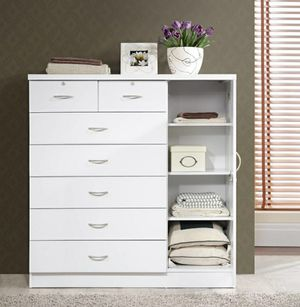 Hodedah 7-Drawer Dresser with Side Cabinet equipped with 3-Shelves, White for Sale in Houston, TX