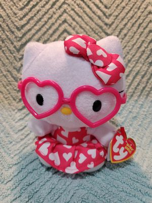 TY HELLO KITTY BEANIE BABY PLUSH WITH PINK HEART DRESS AND GLASSES NEW W/T for Sale in Canyon Lake, TX