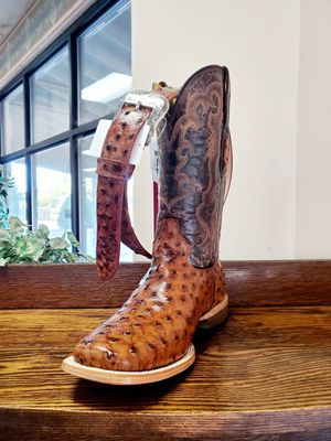 Brand new men's ostrich print boots and belt for Sale in Abilene, TX