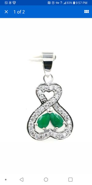 Beautiful real emerald silver filled necklace for Sale in Citrus Heights, CA
