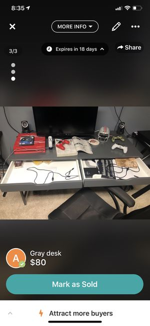 Gray desk for Sale in Hilliard, OH