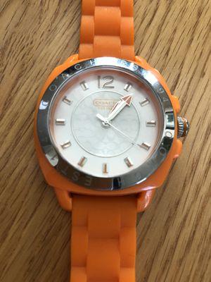 Coach Women's Boyfriend Orange Rubber Strap Watch, $$Firm price for Sale in Rancho Cucamonga, CA