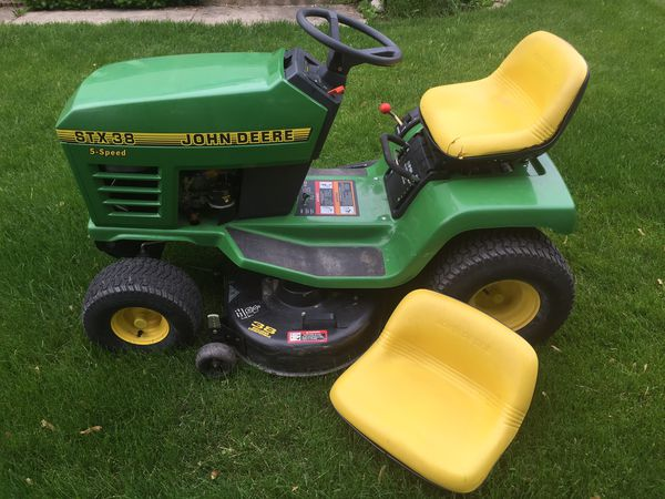 Stx 38 John Deere Riding Lawn Mower With Bagger System For
