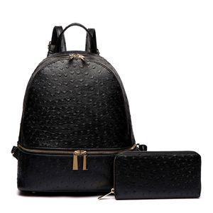 Black Vegan Ostrich Leather Backpack/Handbag and Wallet Set for Sale in Camp Springs, MD