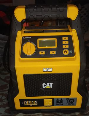 CAT Professional Power Station 3 in 1 Jump Starter 120 Psi Air Compressor 200 watt AC inverter 4 usb outlets bright LED light for Sale in Everett, WA