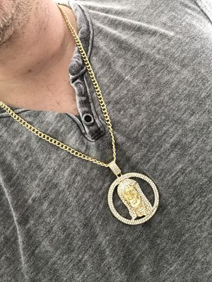 14k gold plated Jesus charm and necklace for Sale in Tampa, FL
