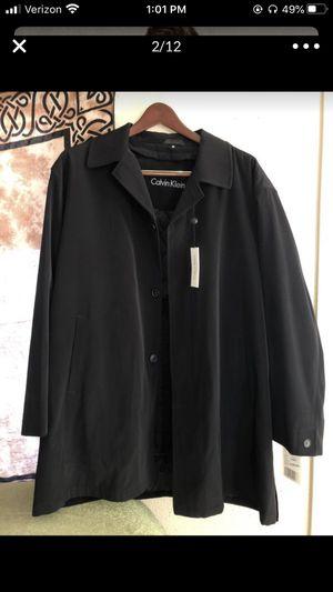 Men's Calvin Klein waterproof rain jacket 🧥 black zipper liner also a lightweight coat new with tags men's size 48R for Sale in Portland, OR