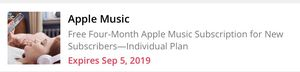 Apple Music 4 Months Redemption Code for Sale in Wethersfield, CT