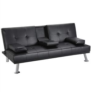 LuxuryGoods Modern PU Leather Futon w/ Cupholders & Pillows, Black for Sale in Houston, TX