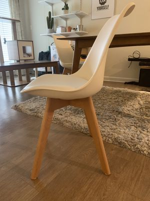 White Modern Contemporary Chair with wooden legs for Sale in Arlington, VA