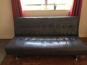 Gray Faux Leather Futon for Sale in Atlanta, GA